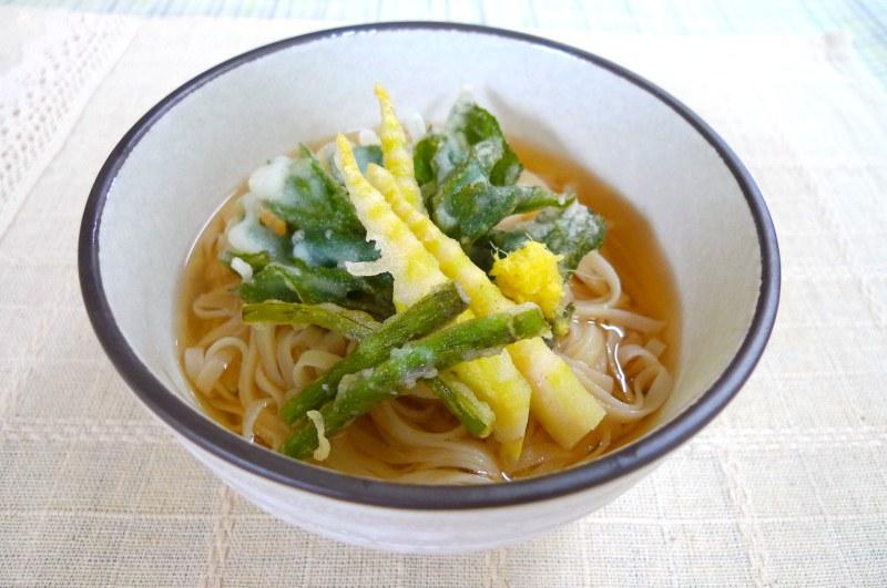 春の山菜の天ぷらうどん風